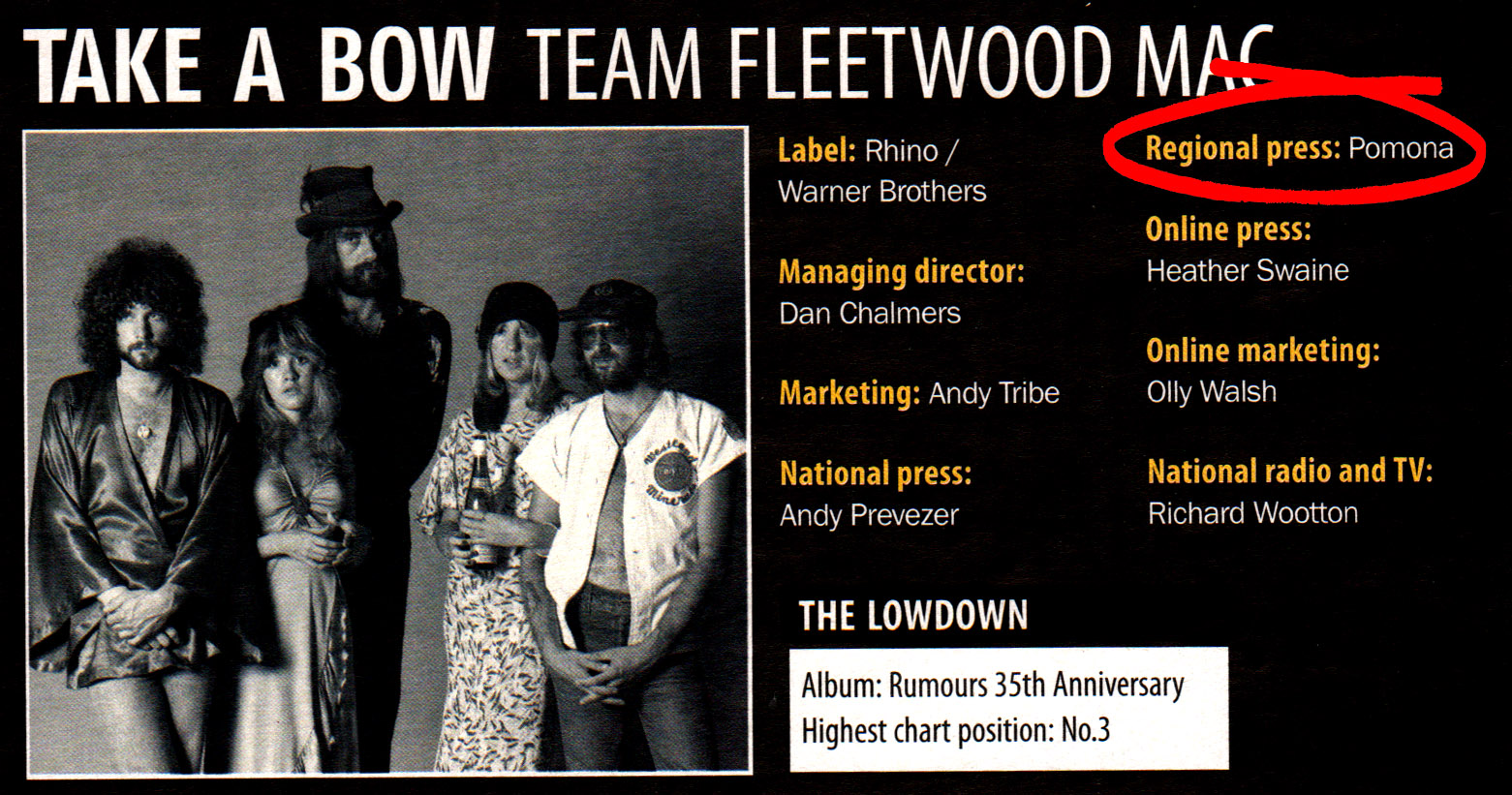 3 Fleetwood Mac Pomona regional press campaign