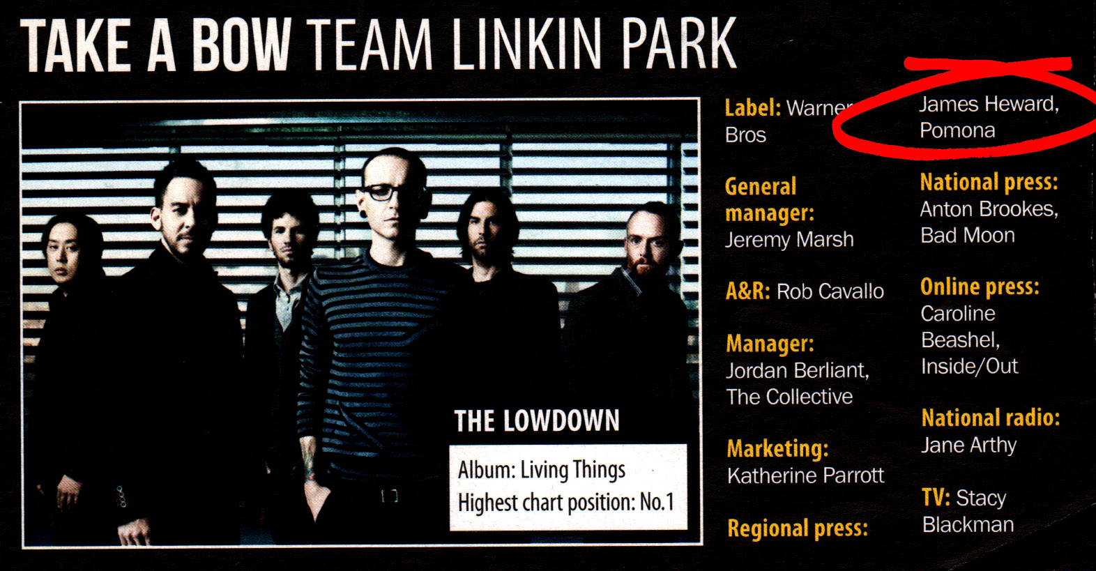 4 Linkin Park the Lowdown Pomona regional press campaign