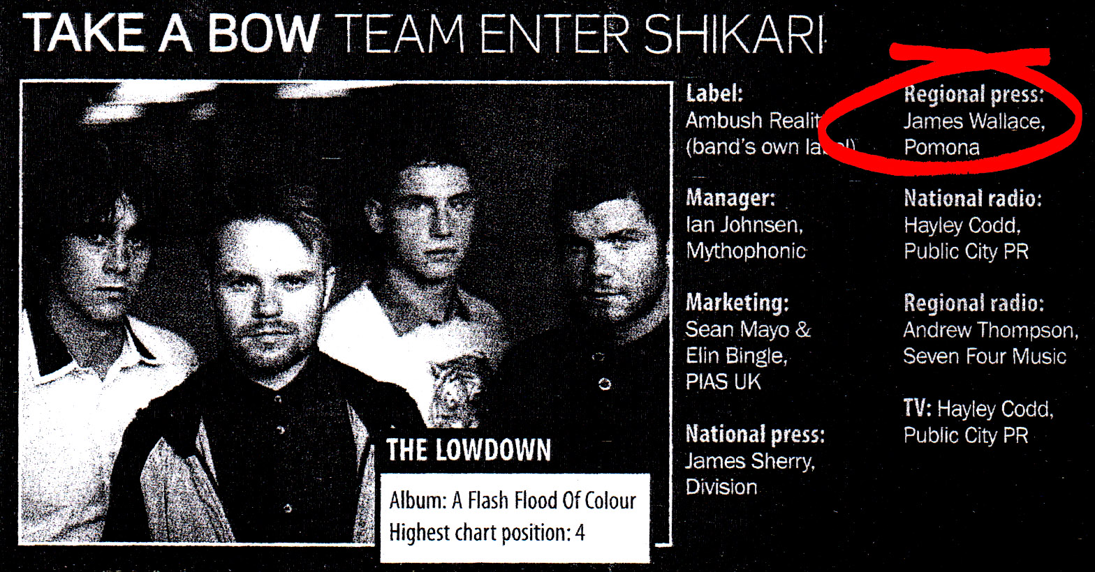 5 Enter Shikari Pomona regional press campaign