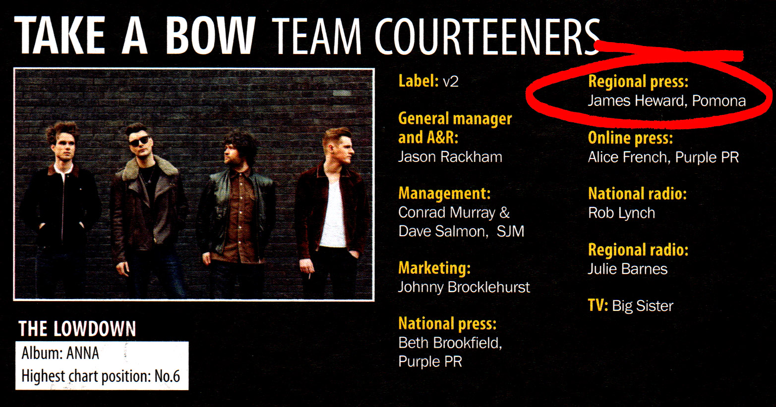 6 Courteeners_Pomona regional press campaign