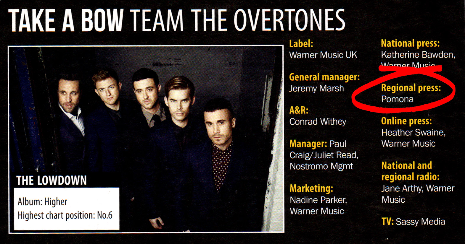 9 The Overtones Higher_Pomona UK regional press campaign